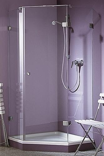 Бесцветная (прозрачная) стеклянная душевая дверь