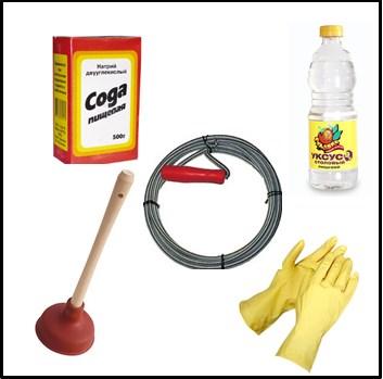 инструменты для устранения засора в раковине